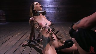 Sextarctive tattooed drab Rocky Emerson is tied up together with toyed wits duo kinky pervert