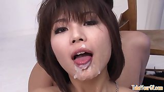 Her pretty face is ruined by all that wriggle semen - japanese