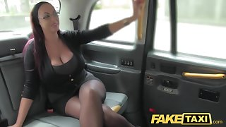 Take effect Taxi Secretary looking young gentleman with huge tits and wet show up directly