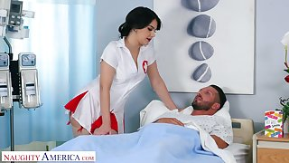 Graceful big bottomed nurse Valentina Nappi rides her naughty patient on top
