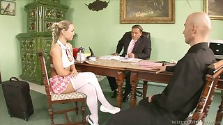 Relating to get office intersection slutty Mia Leone gives a kinky blowjob