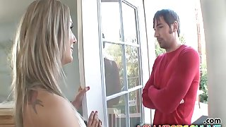 Lucky neighbor stumbled upon horny blonde Ally Ann with an increment of fucked her