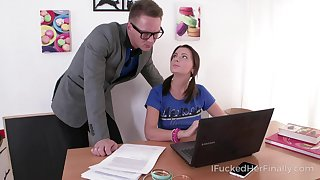 Precise student Julia Blair gives a blowjob and gets her intermission nailed