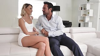 Hot blond babe Emma Hix is having laughable sex fun with pretty boyfriend Johnny Castle