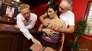 Busty MILF gets busy with two men and fucks in the balance exhaustion