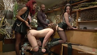 Girl Jodi Taylor with astonishing irritant confined and humiliated in public