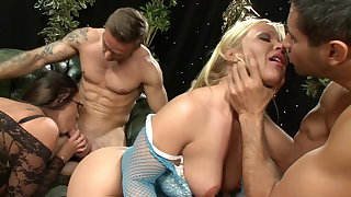 Fishnet Bodystockings on Big Bosom Hot Wives riding Big Dicks