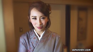 Japanese kimono lady Aya Kisaki wanna some savage masturbation