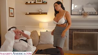 Hot tanned laddie with giant boobies Sybil Stallone wanna ride sloppy bushwa