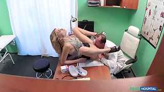 Doctor fucks his young patient after licking the brush pussy a lot