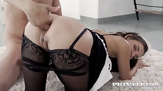 Amazing brunette is working as a maid and often having sex instead of doing her job