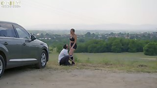 Teasing in outdoors leads to passionate sex with hot Linda Leclair