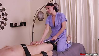 Roasting brunette massage expert pleasures her pussy with the addition of his dick
