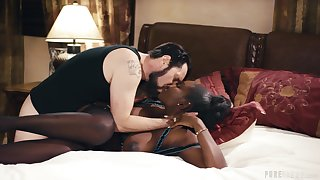 Astounding interracial leads the hot ebony to wild orgasms