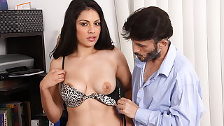 Alluring Latina bitch fucks a daddy with a big one-eyed snake