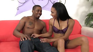 Svelte and ready for orgasm black bawd Bella Star is fucked doggy style
