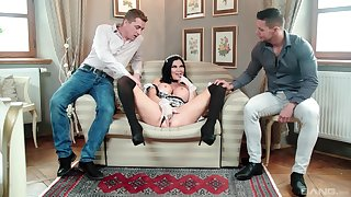 MILF in maid uniform tempted by fucking in trinity scenes