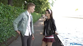 Nerdy fresh girlfriend with small tits Pinky Breeze is so happy all over private road cock
