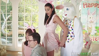Party girls ends up getting intimate with the guy in a bunny suit